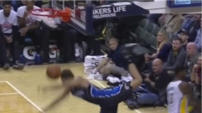 Evan Fournier Face-Plants After Dunk (Video)